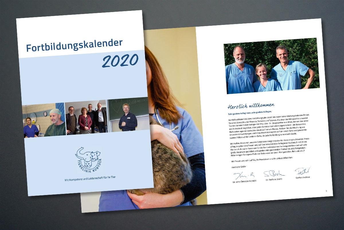 Fortbildungskalender der Tierklinik Rostock, Titelblatt und erste Innenseiten