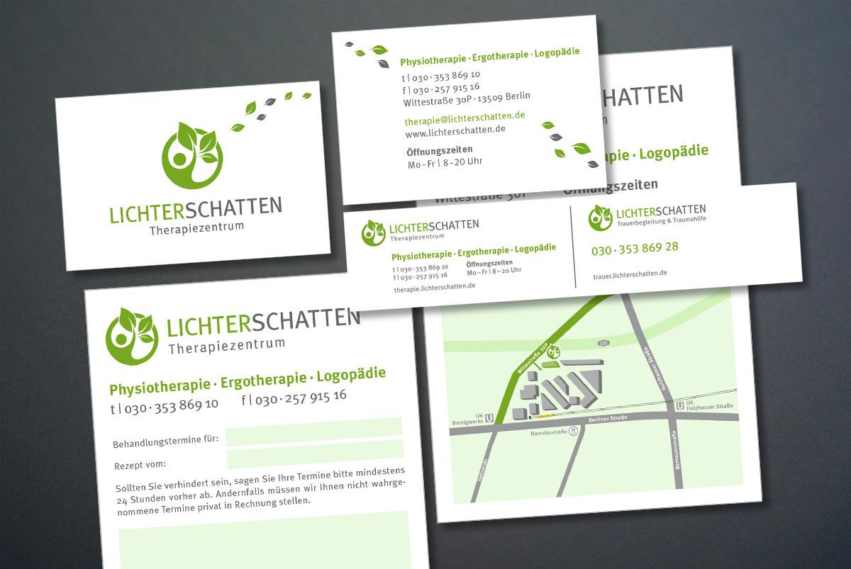Die neuen Geschäftspapiere, Schilder, Terminkarte und Anfahrtskarte von Lichterschatten.