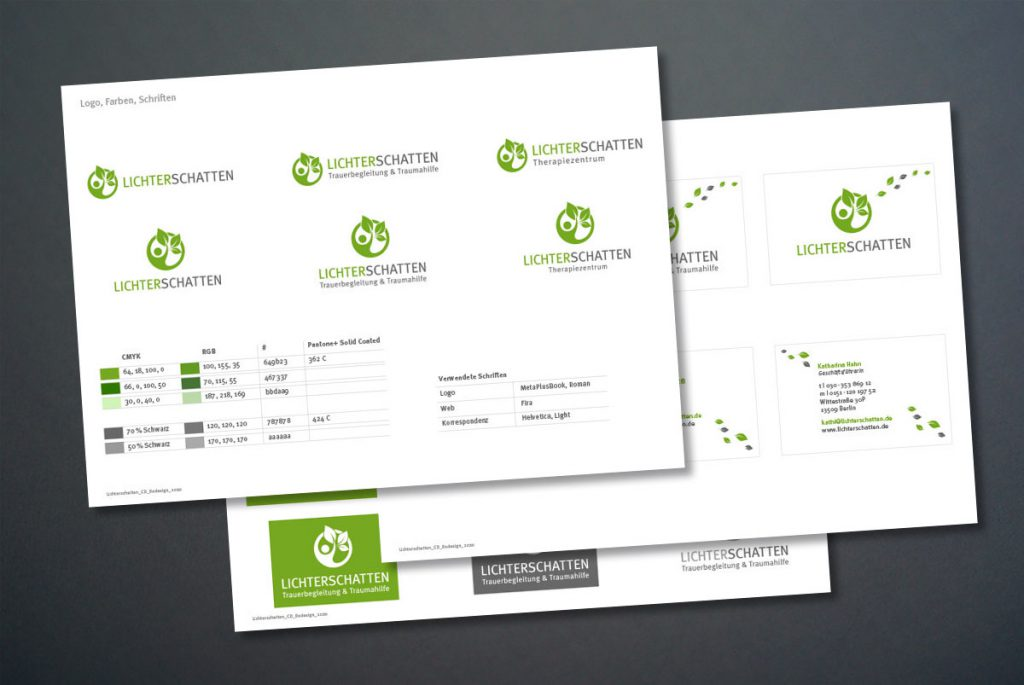Charts mit der Zusammenfassung des Corporate Designs von Lichterschatten