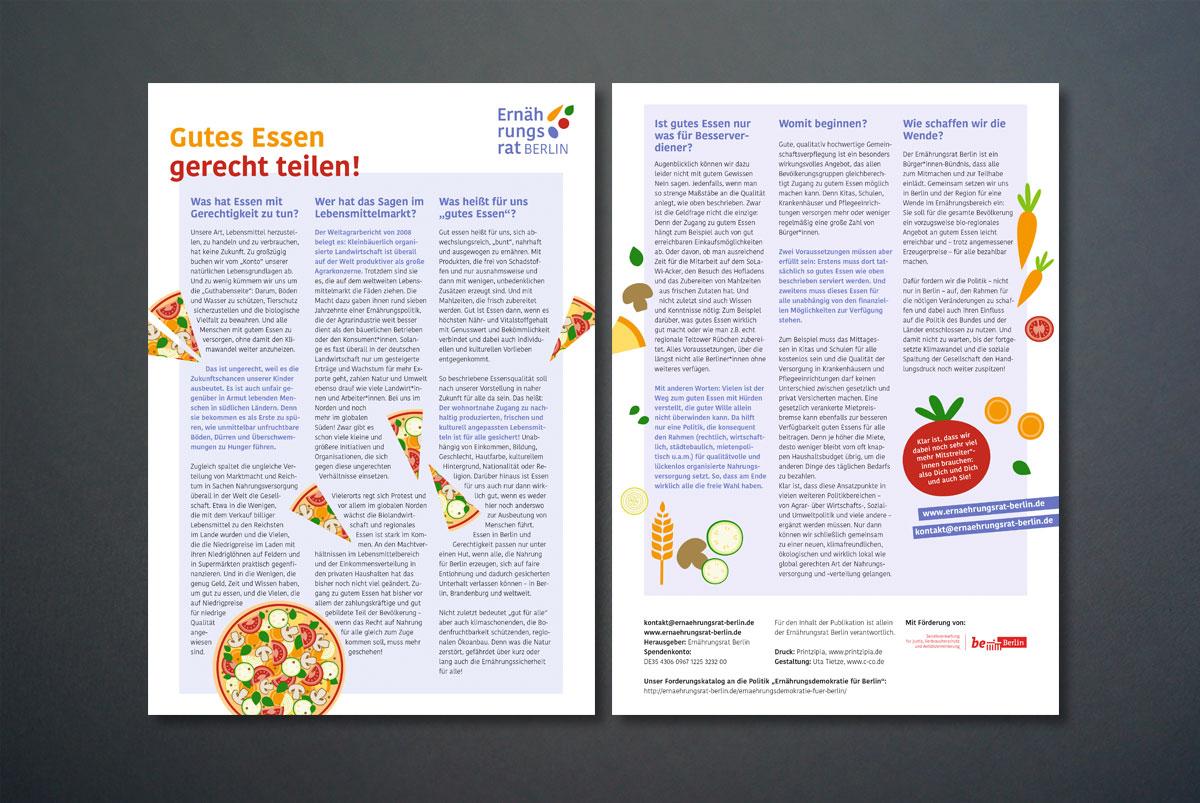 """Infoblatt """"Gutes Essen gerecht teilen!"""" für den Ernährungsrat Berlin"""