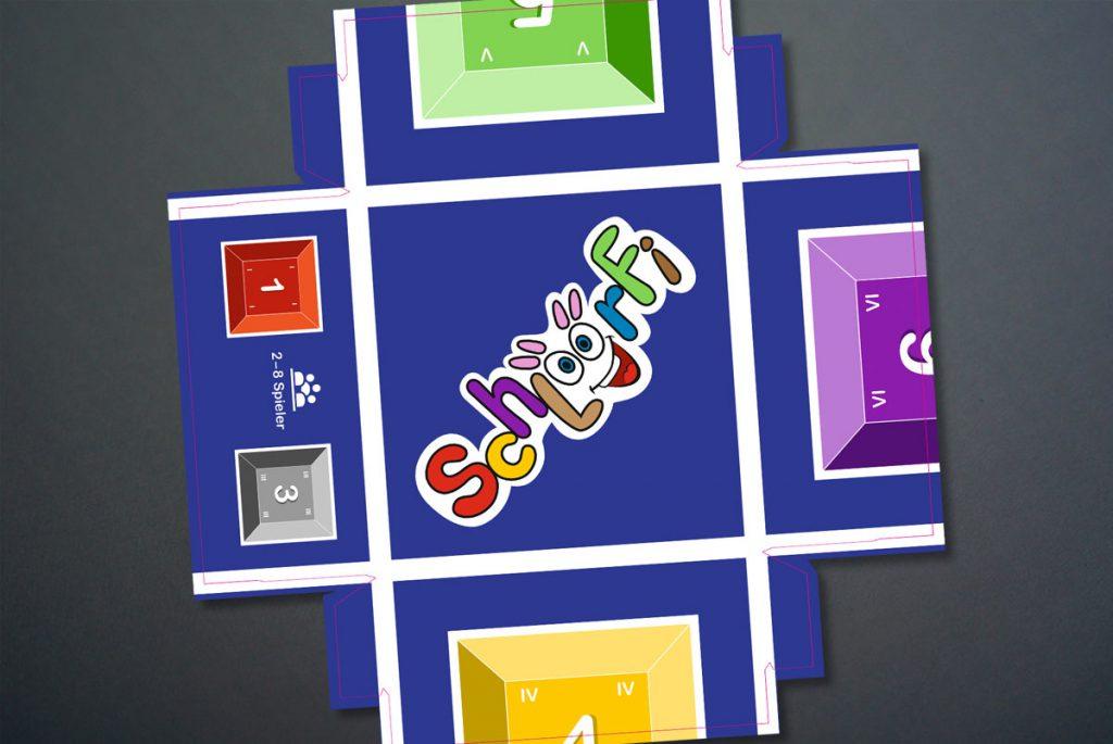 Verpackungsdeckel des Spiels Schlöörfi von Produktschmiede