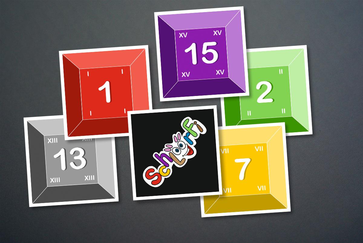 Kartendesign des Spiels Schlöörfi von Produktschmiede