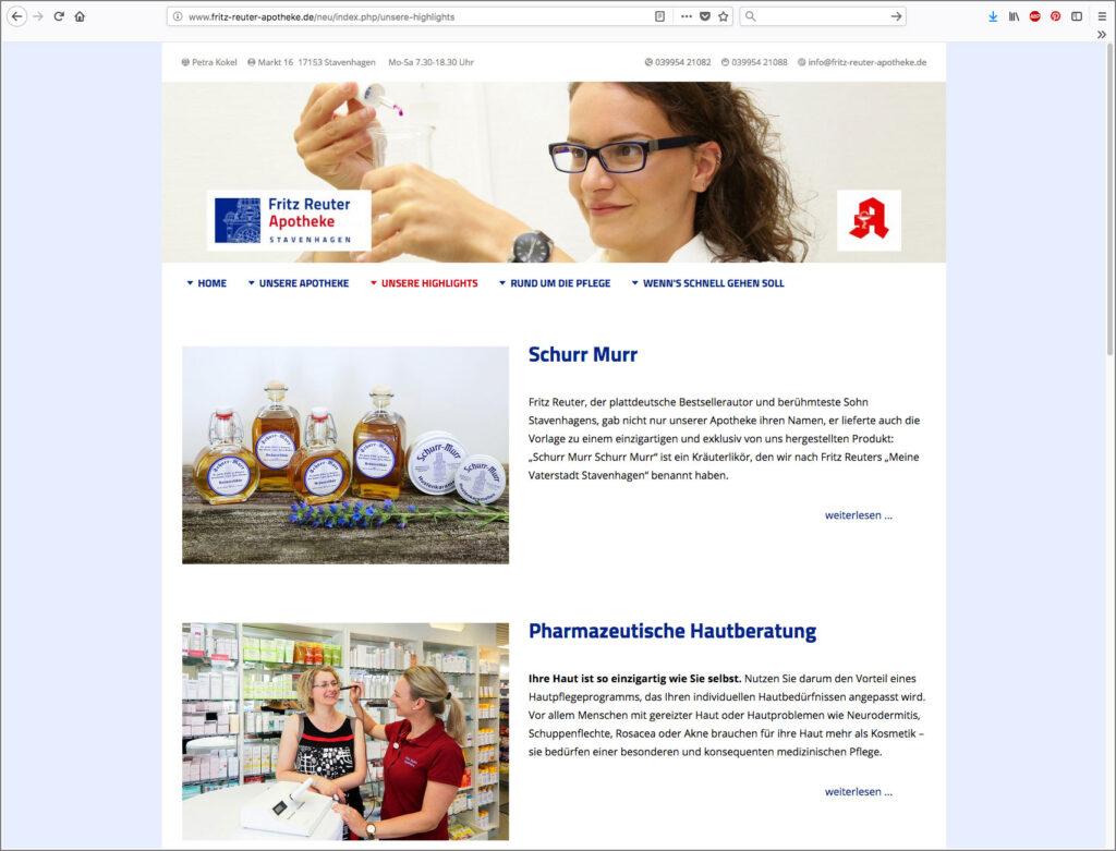 Screenshot der Startseite von fritz-reuter-apotheke.de, Uta Tietze, Kommunikationsdesign