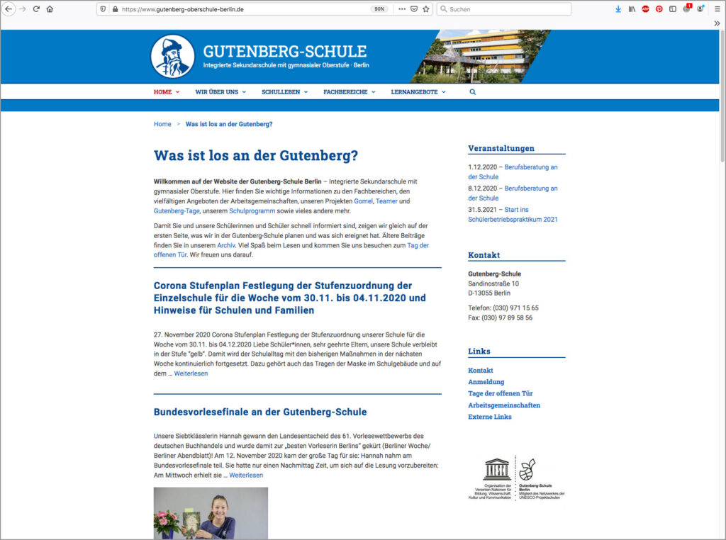 Screenshot der Startseite von gutenberg-oberschule-berlin, Uta Tietze, Kommunikationsdesign